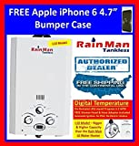 "BEST RATED PORTABLE TANKLESS WATER HEATER & SHOWER JSD20-10A1-LPG ON-DEMAND LPG GAS 3.2 GPM DIGITAL TEMPERATURE for RV, Camping, Hunting, Outdoor, Concession, Horse Washing, etc.. by Rain Man Tankless + FREE APPLE iPHONE 6 5.5"" BLACK BUMPER CASE"