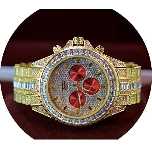 Full ICED Out Red Shiny Face Bling Bracket Set Lab Simulated Diamonds Clubbers Watch