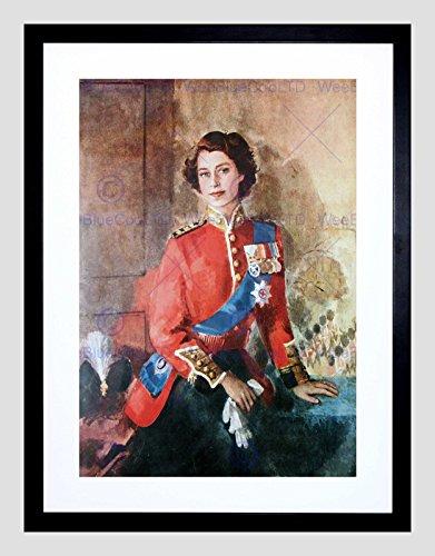 (Painting Portrait Queen Elizabeth II England Black Framed Art Print B12X9755)