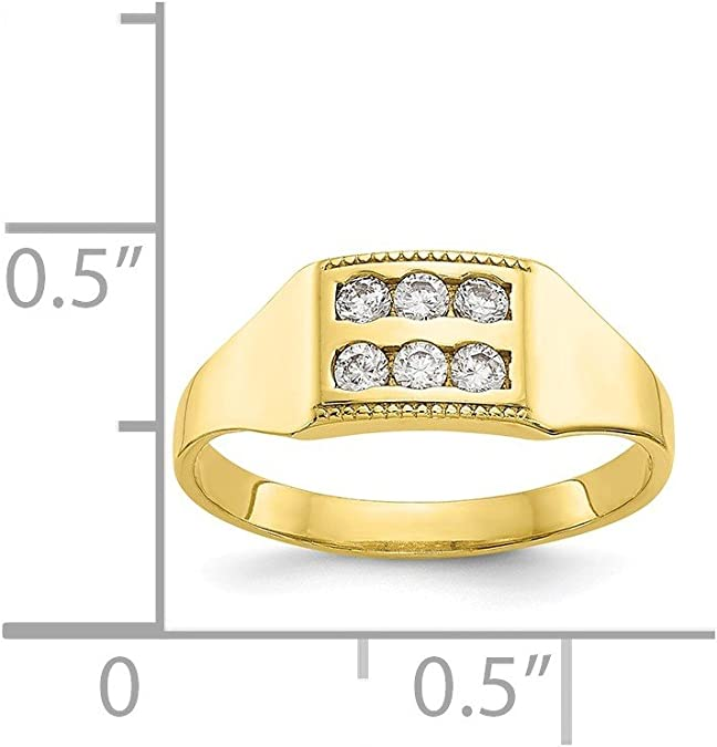 10k Yellow Gold Cubic Zirconia Polished Childs Ring .1.23 gram Ideal Gifts For Women