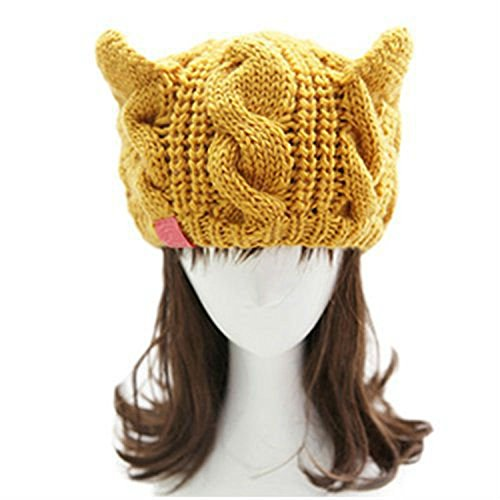 [Dealzip Inc® Yellow Chunky Soft Stretch Skully Cute Cat Ear Design Winter Warm Cable Knit Women Beanie Cap] (Dancing With The Stars Costumes Designs)