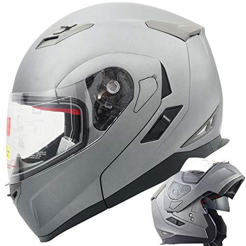 (Orion Voyager Modular Flip-up Street Bike Cruiser Motorcycle Helmets with Drop-down Inner Sun Shield DOT (XL, Titanium Grey))