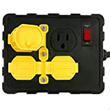 Tower Manufacturing C664502001-13 15 AMP 4-Outlet Circuit Breaker Power Box, 8 Feet, Black/Yellow