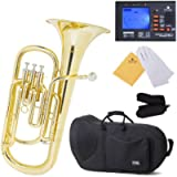 Mendini B-Flat Baritone Horn, Yellow Brass and Tuner, Case - MBR-20+92D