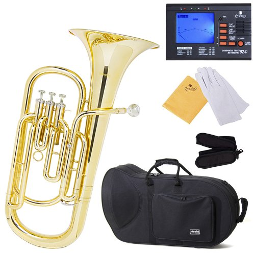 Mendini MBR-20 Lacquer Brass B Flat Baritone with Stainless Steel Pistons Cecilio Musical Instruments MBR-20+92D