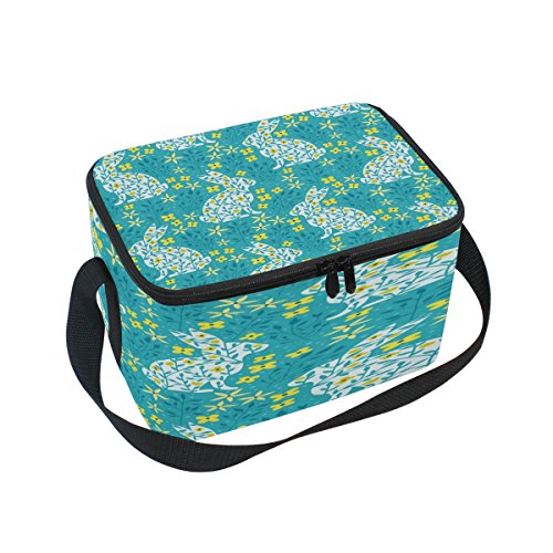 ALAZA Spring Floral Print Rabbit Bunny Insulated Lunch Bag T