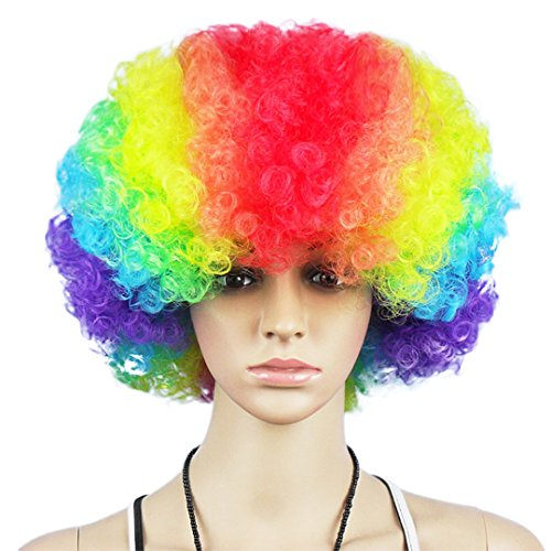 Multifit Unisex Disco Halloween Colourful Party Curl Wigs Mardi Gras Wig Fan Wig Afro Clown Costume for Teens and (Afro Rainbow Wig)