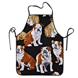 Fimaliy Bulldogs On Black Dogs Pets Waterproof Cooking Aprons