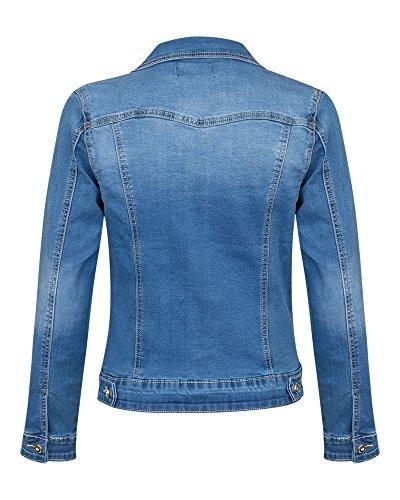 Femme Blouson Manches Bleu Shelikes Longues ZtTn8Hq
