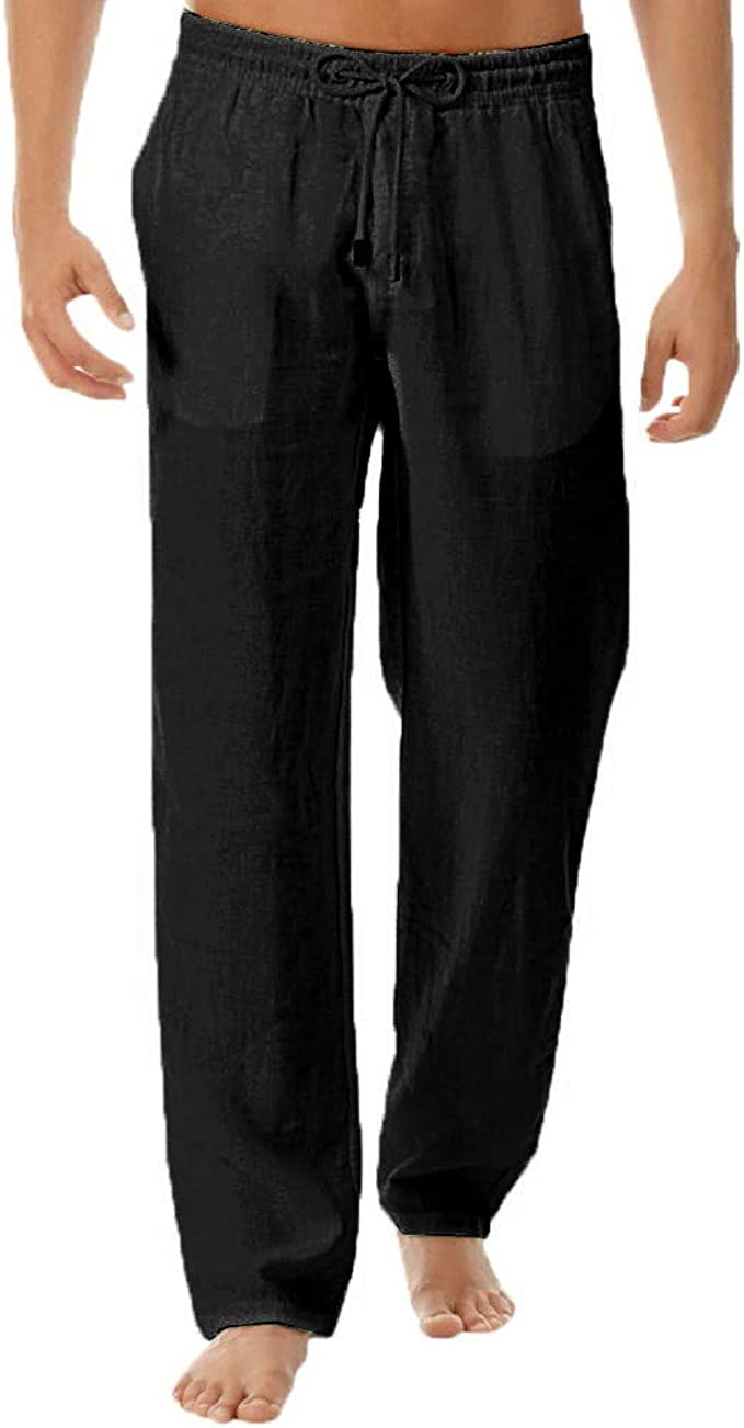 Mens Beach Pants Linen Casual Summer Drawstring Straight Fit Trousers with Pockets