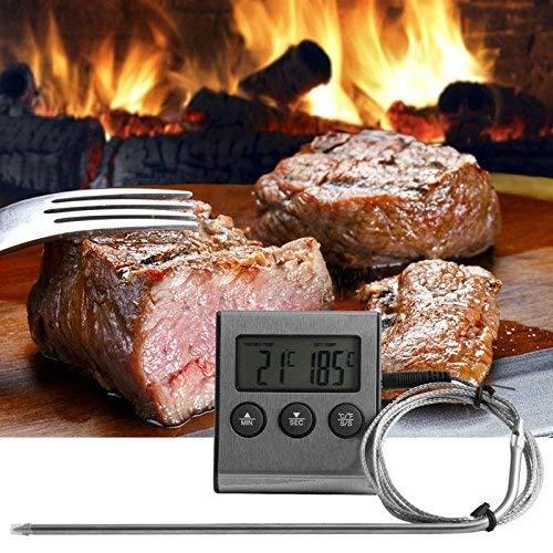 Ourleeme digitale sonda forno e carne termometro timer per barbecue di cottura dei cibi