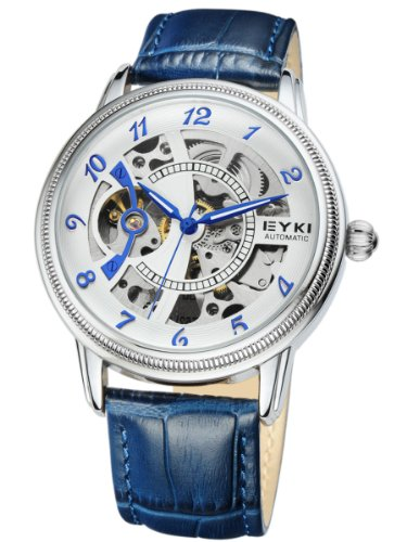 Alienwork mechanische Automatik Armbanduhr Skelett Automatikuhr Uhr weiss blau Leder YH.W8752-03