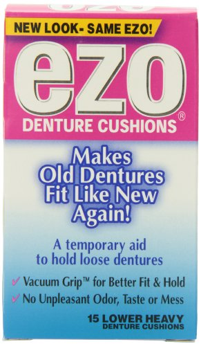 Ezo Denture Cushions, Lower Heavy, 15 Cushions (Pack of (Denture Adhesive Strips)