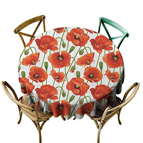 Jbgzzm Round Tablecloth Poppy Decor Collection Poppy Flowers Blooms Buds Water Drops Dew Morning Time Image Pattern Washable Tablecloth D43 Orange Red Green