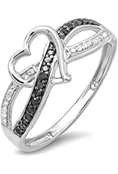 0.20 Carat (ctw) Sterling Silver Black & White Diamond Promise Heart Love Criss Cross Overlap Ring 1/5 CT