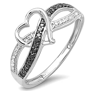 0.20 Carat (ctw) Sterling Silver Round Black & White Diamond Ladies Promise Heart Love Criss Cross Overlap Engagement Ring 1/5 CT (Size 6.5)