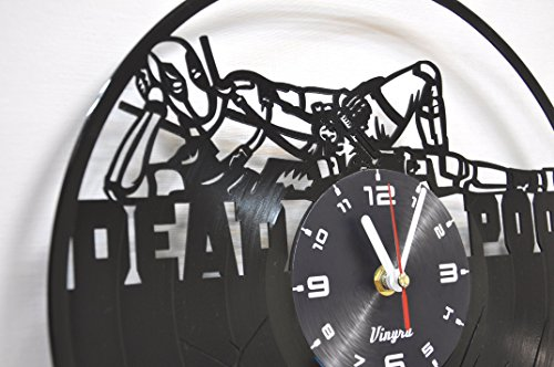 Deadpool Clock Wall Vinyl Marvel Deadpool Men Women Boys Birthday Set Deadpool Decor Home LP Vinyl Clock Art Movie Wall Clock - Deadpool Gift Idea - Deadpool Wall Decor - Deadpool Vinyl Clock Black 5