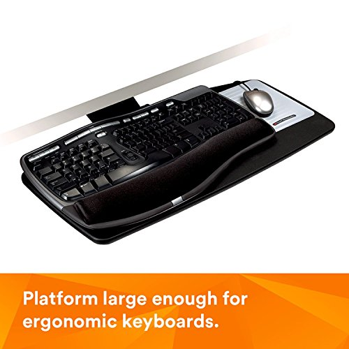 "3M Keyboard Tray with Sturdy Engineered Wood Platform, Simply Turn Knob to Adjust Height and Tilt for Comfort, Swivels and Stores Under Desk, Gel Wrist Rest and Precise Mouse Pad, 17"" Track, Black (AKT60LE)"