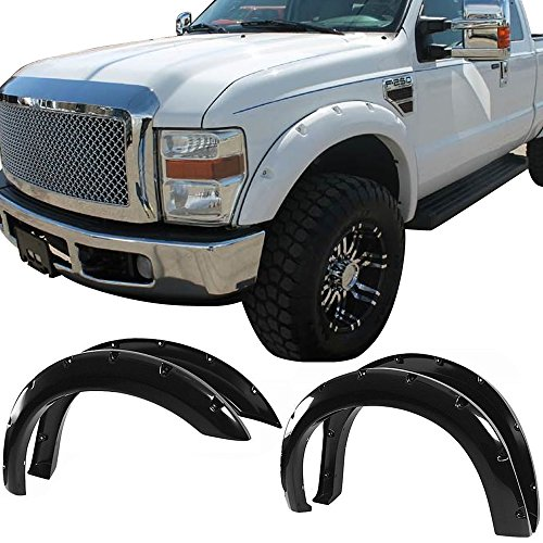 Fender Flares Fits 2008-2010 Ford F250 F350 | 4pc Pocket Rivet Smooth Black Front Rear Right Left Wheel Cover Protector Vent by IKON MOTORSPORTS | 2009 ()