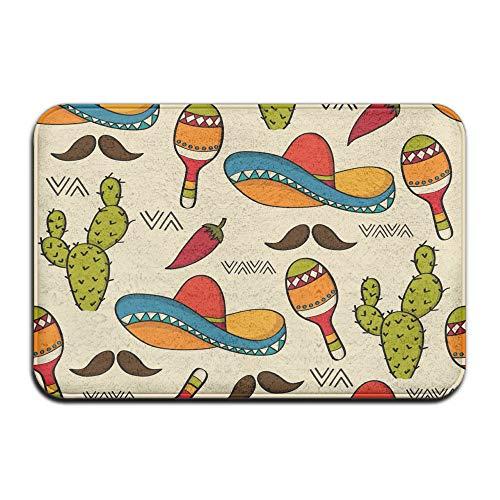PLYJAN Mexican Sombrero Hat Cactus Soft Non Slip Absorbent Bath Rugs,Memory Foam Bath Mats Entrance Mat Floor Mat by PLYJAN