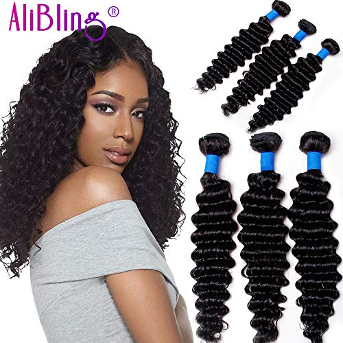 Ali Bling 8A Grade Brazilian Virgin Hair Deep Curly Wave 3 Bundles 100% Unprocessed Human Hair Natural Black Color Hair Extensions Can Be Dyed and Bleached (10 12 14)