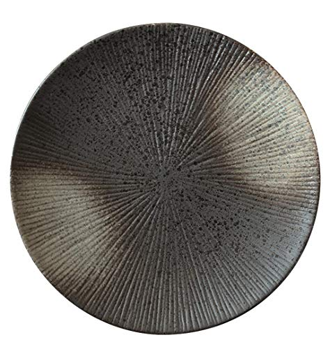 Xiao-bowl3 Japanese Style Black Round Frosted Ceramic Ramen Plate Western Dish Steak Sushi Dessert Cake Plate (Color : 10.5in)