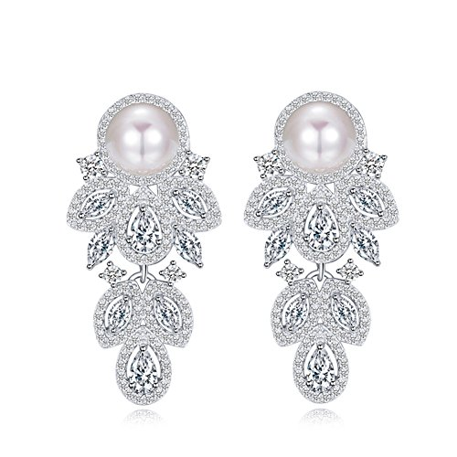 Elegant Leaf Shape Cubic Zirconia Pave Dangle Drop Pearl Earrings with 925 Sterling Silver Pin