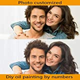 QIANDONG1 Photo Customized DIY Oil Painting by Number Your Own Picture by Numbers Wedding Family Children Photos Home Decor Hand Paint,Framed,40x60cm