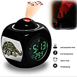 Projection Alarm Clock Wake Up Bedroom with Data and Temperature Display Talking Function, LED Wall / Ceiling Projection, Dinosaur-011.10_Gastonia burgei dinosaur