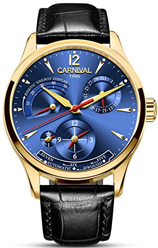 alendar Kinetic Display Dual Time Zone Analog Automatic Mechanical Watch Leather Band (Gold Blue) ()