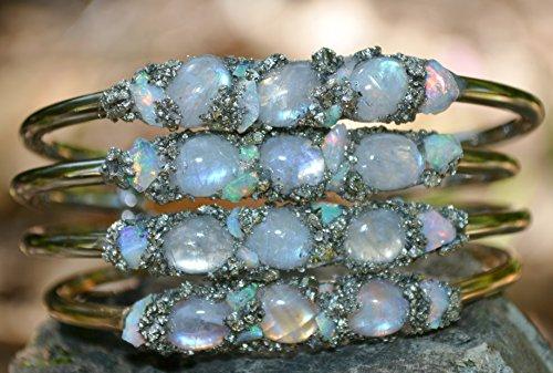 Moonstone and Opal Bracelet, Birthstone Jewelry, Birthstone Bracelet, Moonstone Jewelry, Opal Bracelet, June Birthstone Moonstone