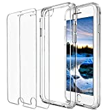 Huffii, Clear Case for Apple iPhone 6 and iPhone 6s and [2 PK] Tempered Glass Screen Protector (Case + 2PK Screen Protectors)
