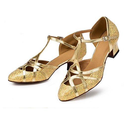Ballroom danse de Femme doré Cadeau YFF Chaussures Dance de chaussures tango Latin danse RFWwS