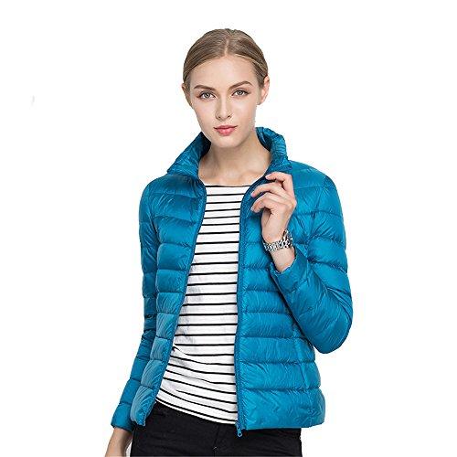 Quibine Doudoune Ultra Lger Femme Manteau Chaud d'hiver en Duvet Bleu Canard