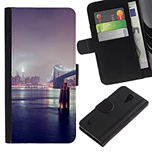 YiPhone /// Tirón de la caja Cartera de cuero con ranuras para tarjetas - Puente de Nueva York - Samsung Galaxy S4 IV I9500