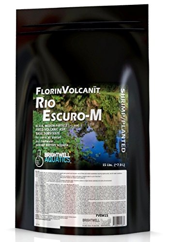 Brightwell Aquatics FlorinVolcanit Rio Escuro-M Black 5mm FW shrimp biotope aquaria, 15 lb (Brightwell Black Water)