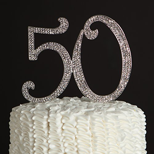 50-Cake-Topper-50th-Birthday-Anniversary-Party-Silver-Rhinestone-Number-Party-Decoration-Silver