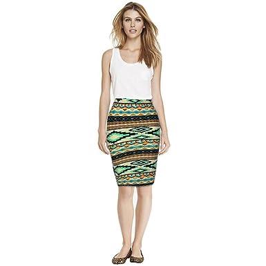 1464b1c5f ESAILQ Skirts, Fashion Women Pencil Mid Knee-Length Elastic High Waist Skirt:  Amazon.co.uk: Clothing