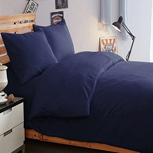 NTBAY 3 Pieces Duvet Cover Set Solid Color Microfiber with Hidden Zip(Twin, Dark Navy) (Dark Blue Comforter)