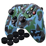 YoRHa Water Transfer Printing Camouflage Silicone Cover Skin Case for Microsoft Xbox One X & Xbox One S controller x 1(navy) With PRO thumb grips x 8 For Sale