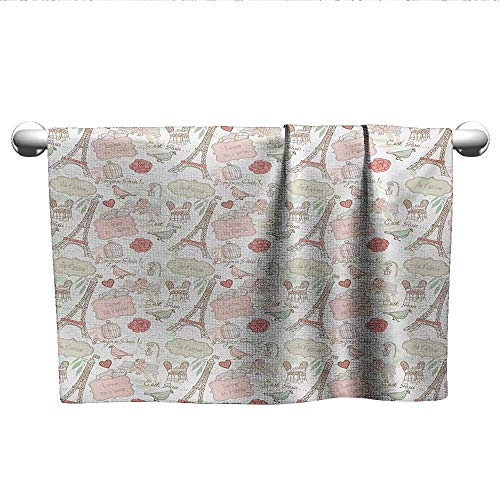 alisoso Paris,Camping Towels French Pop Culture Lovers in Streets Bonjour Je Taime Flower Pastel Life Image Bath Towels for Kids Dried Rose Cream W 28