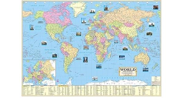 Mapa del mundo político laminado multicolor grande, 100 x 70 cm: Amazon.es: Oficina y papelería