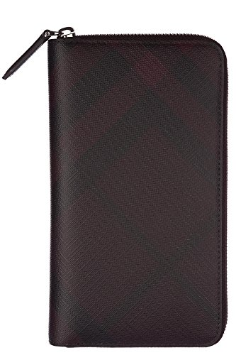 Burberry men's wallet coin case holder purse card bifold london check zip around