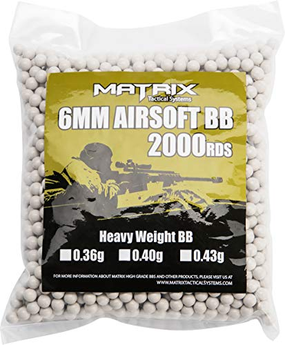 Evike 0.40g Sniper MAX Grade 6mm Airsoft BB by Matrix (Color: White / 2,000 Rounds)