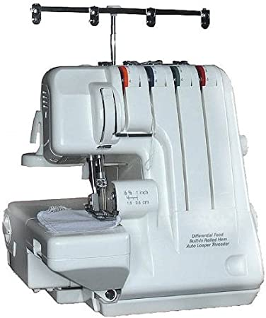 Máquina de Coser Overlock 2, 3, 4 Hilos, Enroscar Fácilmente con Alimentación/Transporte Diferencial + GRATIS 12 Conos de Hilo & Lienzo Llevar Estuche (Lona Bolsa de ...