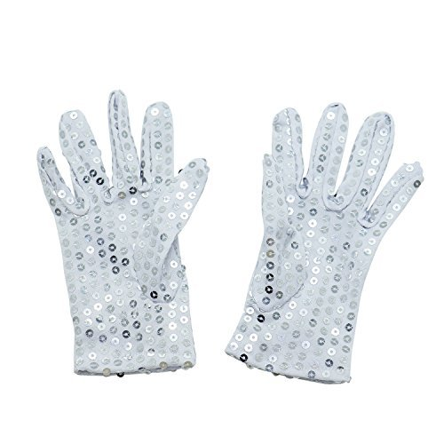 HUELE 2 Pairs Children Costume Gloves Dress up Dance Ice Skating Party - Sparkling Sequin Gloves -