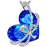 Qianse Heart of Ocean Bowtie Pendant Necklace Made with Swarovski Crystal