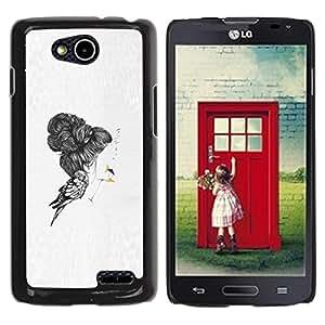 For LG OPTIMUS L90 / D415 Case , Emo Bird Deep Sad Pencil Art Drawing - Diseño Patrón Teléfono Caso Cubierta Case Bumper Duro Protección Case Cover Funda