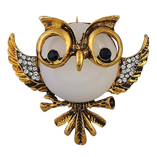 Demarkt Brooch Pins,Vintage Owl Brooch for Wedding Party (Gold white) (Vintage Gold White Brooch)