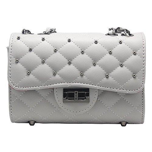 Hysagtek Women's Crossbody Satchel Shoulder Handbag Messenger Shoulder Purse Bag Ladies Evening Bag Party Wedding Bridal Prom Purse Bag Chain Strap Bag (Grey) by Hysagtek